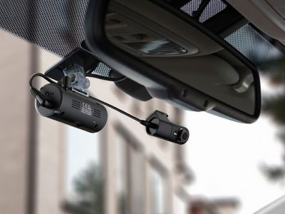thinkware fa200 mounted on front windshield with interior camera integrated with it.