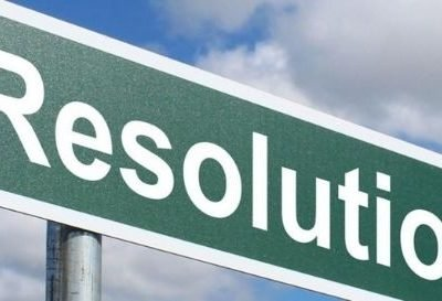 banner sign says resolution