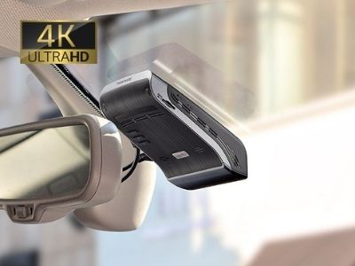 4k dash cam installed on front windshield of vehicle