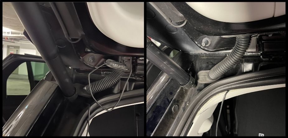 running wire in rear boot